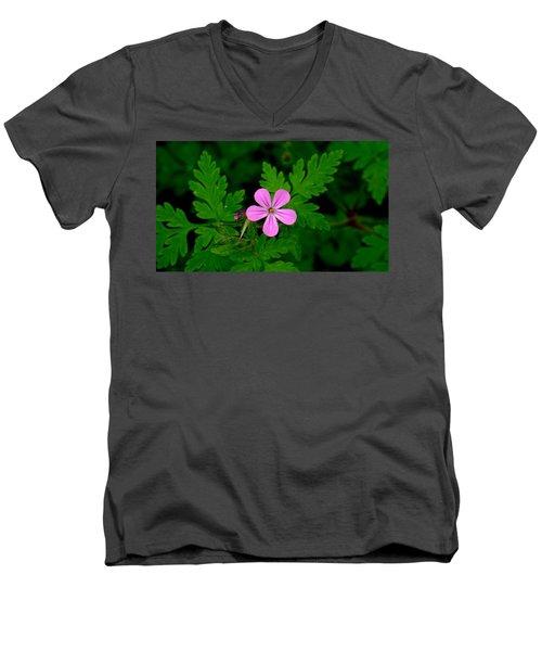 Men's V-Neck T-Shirt featuring the photograph Little Purple Flower by Karen Molenaar Terrell