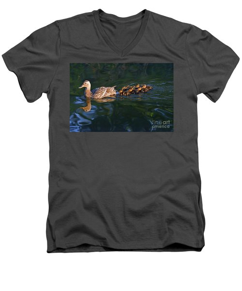 Men's V-Neck T-Shirt featuring the photograph Little Quacker Formation by Debby Pueschel