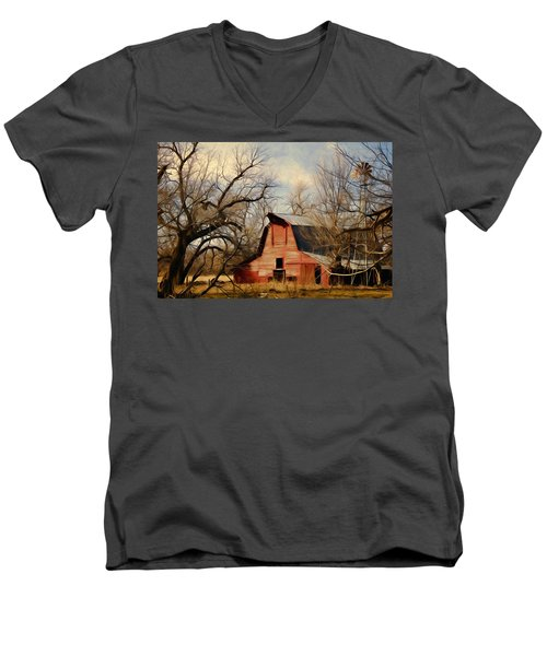Men's V-Neck T-Shirt featuring the photograph Little Red Barn by Lana Trussell