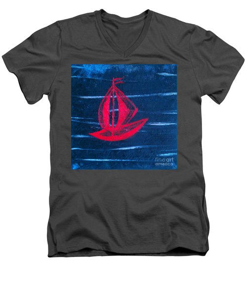 Men's V-Neck T-Shirt featuring the painting Little Red Boat  by Jacqueline McReynolds