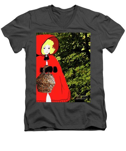Little Red Riding Hood In The Forest Men's V-Neck T-Shirt