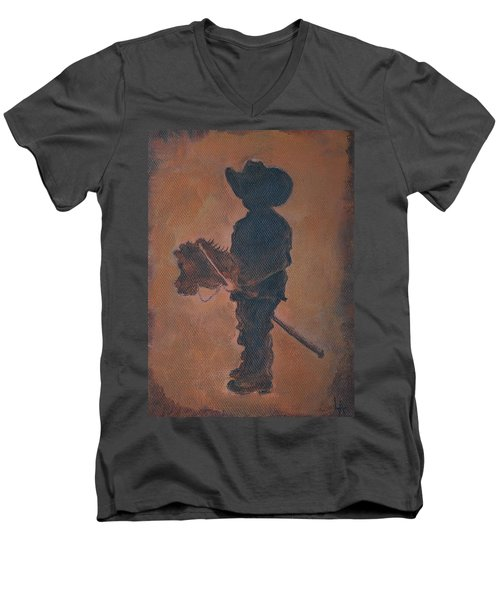 Men's V-Neck T-Shirt featuring the painting Little Rider by Leslie Allen