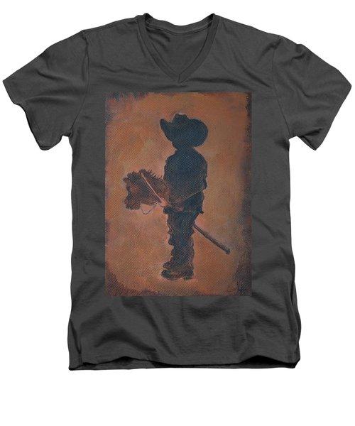 Little Rider Men's V-Neck T-Shirt by Leslie Allen