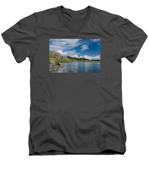 Little River In Spring Men's V-Neck T-Shirt by Greg Nyquist