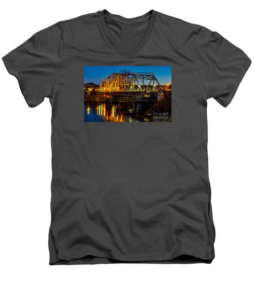 Little River Swing Bridge Men's V-Neck T-Shirt by David Smith