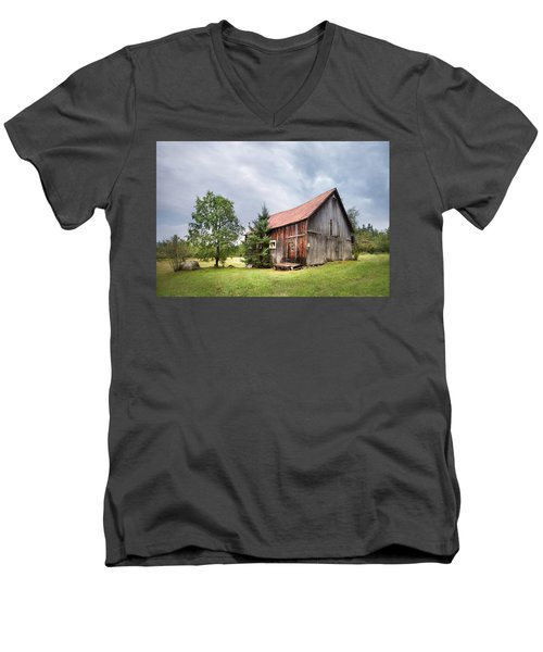 Men's V-Neck T-Shirt featuring the photograph Little Rustic Barn, Adirondacks by Gary Heller