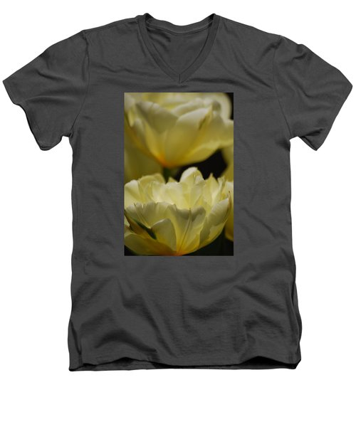Men's V-Neck T-Shirt featuring the photograph Little Teacups by Ramona Whiteaker