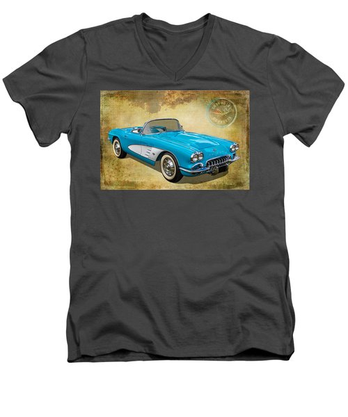 Little Vette Men's V-Neck T-Shirt by Keith Hawley