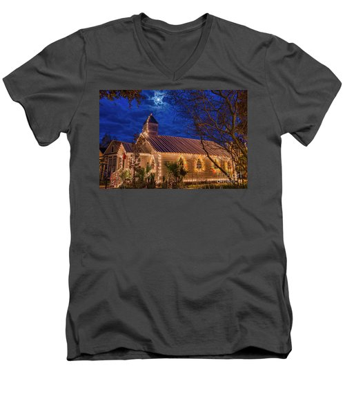 Men's V-Neck T-Shirt featuring the photograph Little Village Church With Star From Heaven Above The Steeple by Bonnie Barry