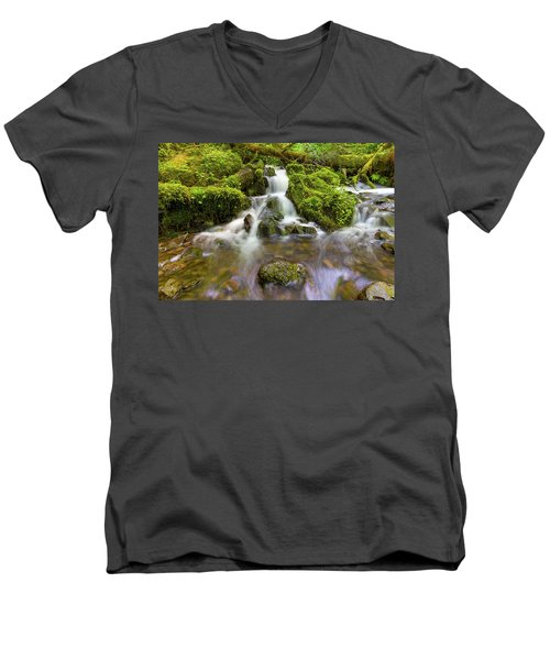 Little Waterfalls Along Wahkeena Creek Men's V-Neck T-Shirt