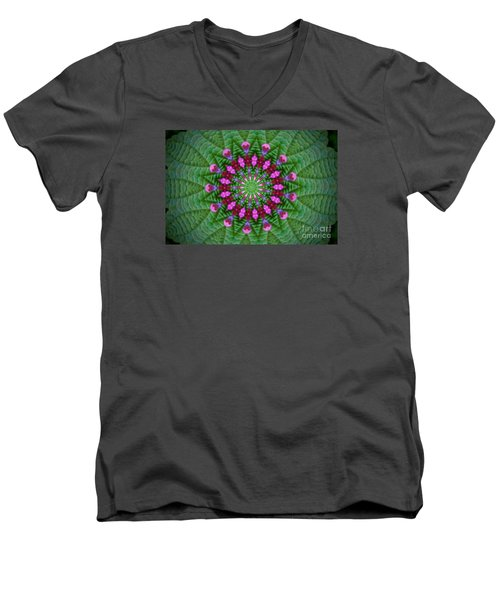 Men's V-Neck T-Shirt featuring the photograph Little Weed Kaliedoscope by Shirley Moravec