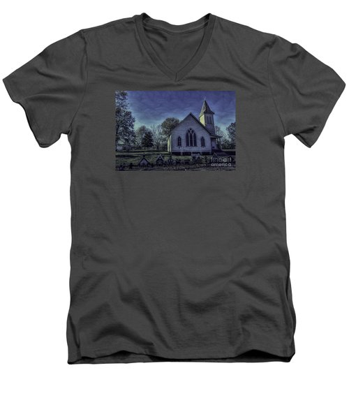 Little White Church Men's V-Neck T-Shirt by Ken Frischkorn