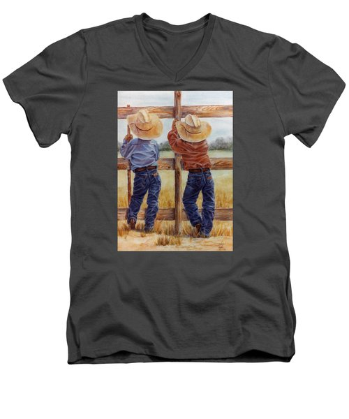 Little Wranglers Men's V-Neck T-Shirt by Ann Peck