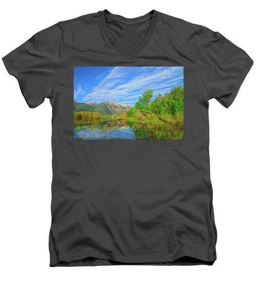 Live As Though You Will Die Tomorrow. Learn As Though You Will Live Forever.  Men's V-Neck T-Shirt