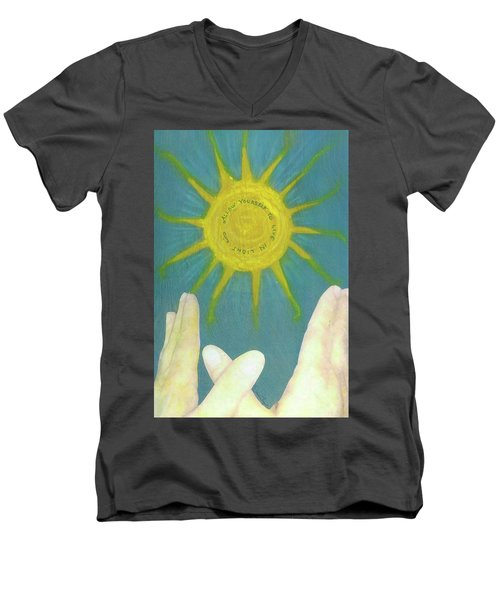 Men's V-Neck T-Shirt featuring the mixed media Live In Light by Desiree Paquette