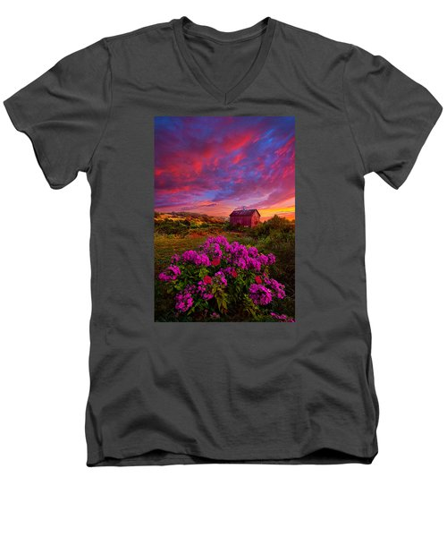 Live In The Moment Men's V-Neck T-Shirt by Phil Koch