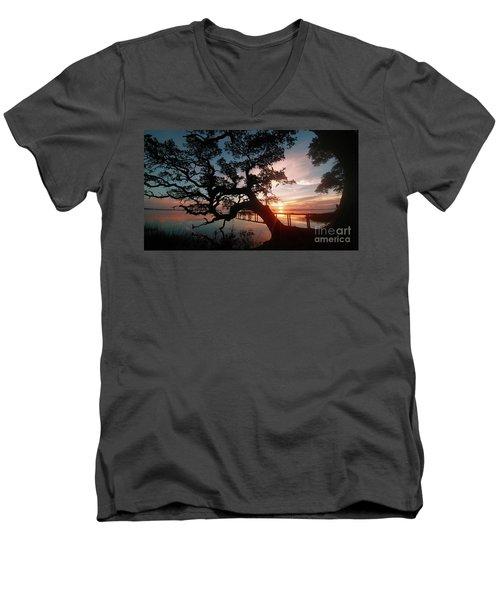 Men's V-Neck T-Shirt featuring the photograph Live Oak Sunrise by Benanne Stiens