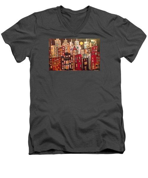 Lively City Skyline Men's V-Neck T-Shirt by Roxy Rich