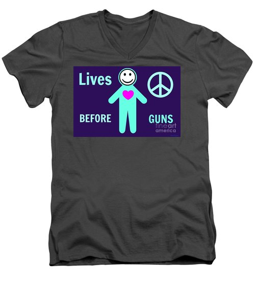 Lives Before Guns Men's V-Neck T-Shirt