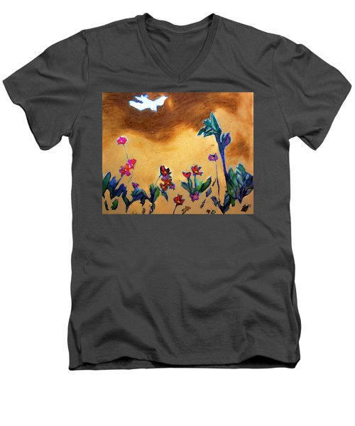 Men's V-Neck T-Shirt featuring the painting Living Earth by Winsome Gunning