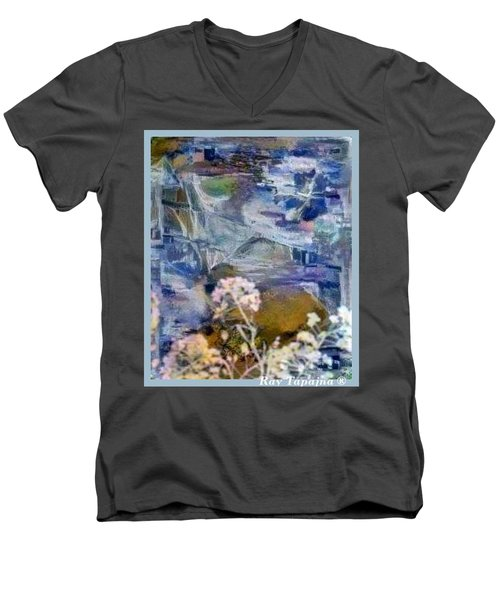 Men's V-Neck T-Shirt featuring the mixed media Living It by Ray Tapajna