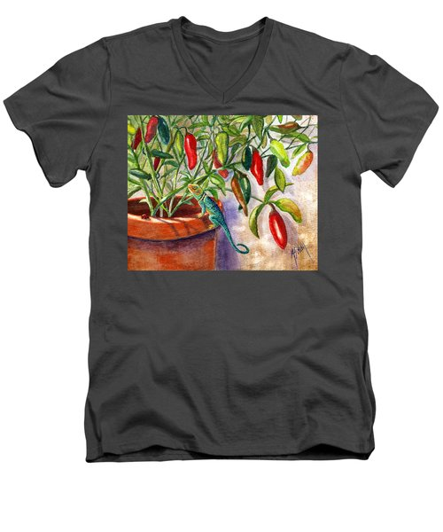 Men's V-Neck T-Shirt featuring the painting Lizard In Hot Sauce by Marilyn Smith