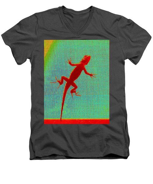 Lizard On The Screen Men's V-Neck T-Shirt
