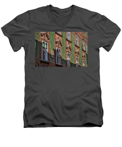 Men's V-Neck T-Shirt featuring the photograph Ljubljana Windows #2 - Slovenia by Stuart Litoff
