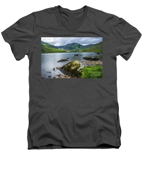 Llyn Ogwen Glyder Fawr Men's V-Neck T-Shirt by Ian Mitchell