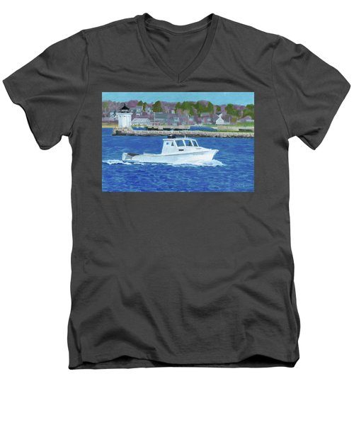 Lobster Boat And Bug Light Men's V-Neck T-Shirt