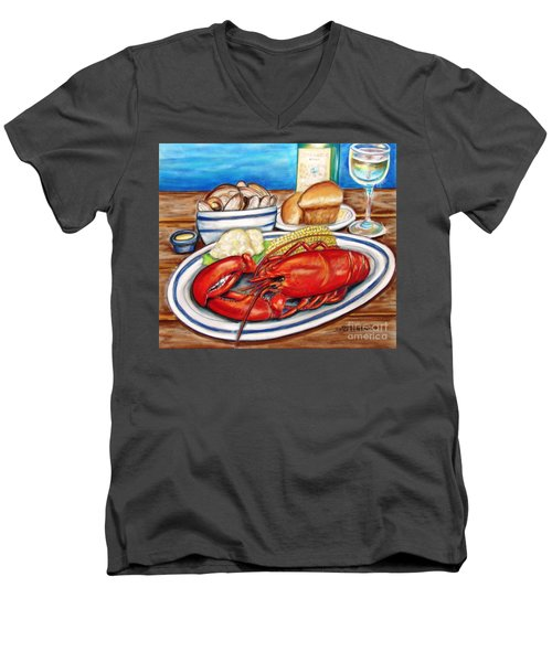 Lobster Dinner Men's V-Neck T-Shirt by Patricia L Davidson
