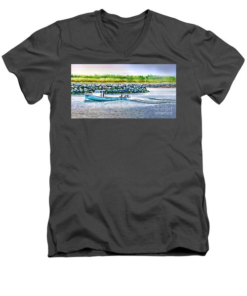 Lobster Fishing Day's End Men's V-Neck T-Shirt by Patricia L Davidson