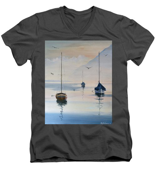 Locarno Boats In February-2 Men's V-Neck T-Shirt by David Gilmore