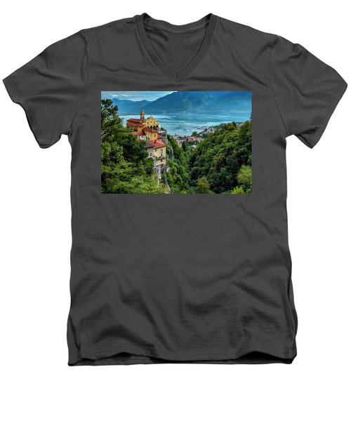 Men's V-Neck T-Shirt featuring the photograph Locarno Overview by Alan Toepfer