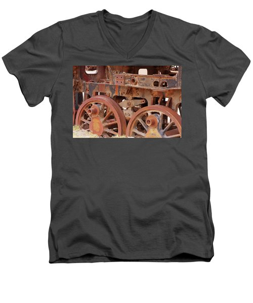 Men's V-Neck T-Shirt featuring the photograph Locomotive In The Desert by Aidan Moran