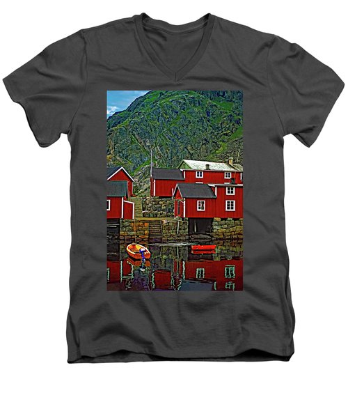 Lofoten Fishing Huts Men's V-Neck T-Shirt by Steve Harrington