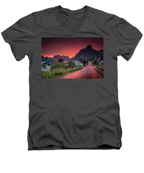 Lofoten Nightlife  Men's V-Neck T-Shirt by Alex Conu