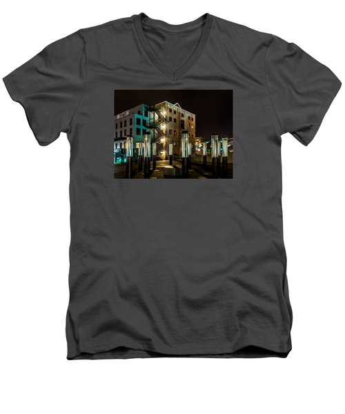 Lofts Overlooking Water Forest Men's V-Neck T-Shirt by Rob Green