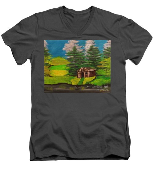 Men's V-Neck T-Shirt featuring the painting Log Cabin by Brindha Naveen