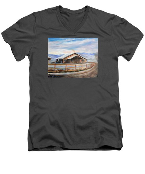 Men's V-Neck T-Shirt featuring the painting Log Cabin House In Winter by Sherril Porter