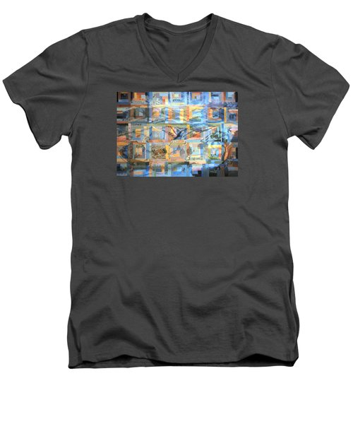 Log Cabin Quilt Men's V-Neck T-Shirt