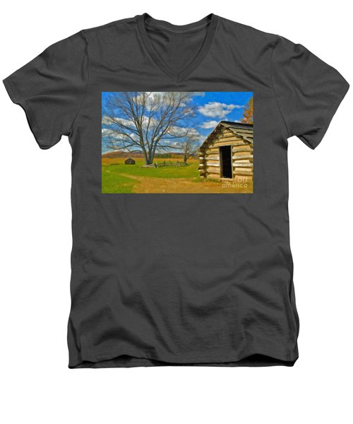 Men's V-Neck T-Shirt featuring the photograph Log Cabin Valley Forge Pa by David Zanzinger