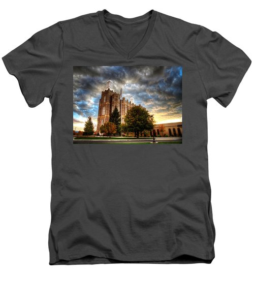 Logan Temple Cloud Backdrop Men's V-Neck T-Shirt