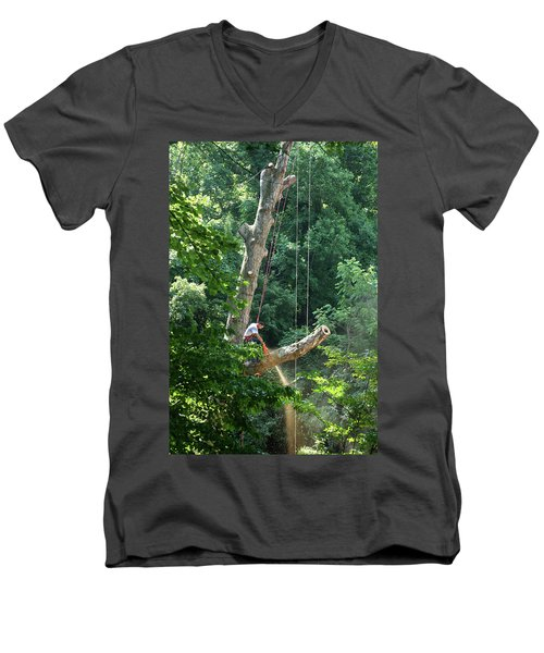 Logger Cutting Down Large, Tall Tree Men's V-Neck T-Shirt by Emanuel Tanjala