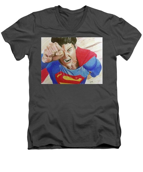 Men's V-Neck T-Shirt featuring the drawing Lois' Death by Michael McKenzie
