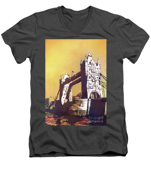 Men's V-Neck T-Shirt featuring the painting London Bridge- Uk by Ryan Fox