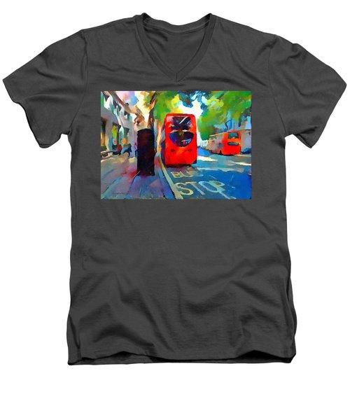 London Bus Stop Men's V-Neck T-Shirt