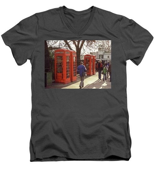 Men's V-Neck T-Shirt featuring the photograph London Call Boxes by Jim Mathis