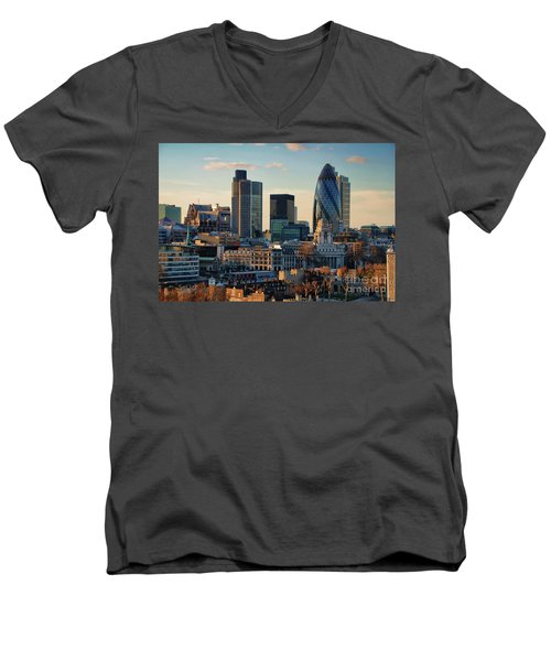 Men's V-Neck T-Shirt featuring the photograph London City Of Contrasts by Lois Bryan