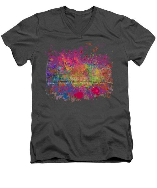 London Colour Men's V-Neck T-Shirt by Dave H